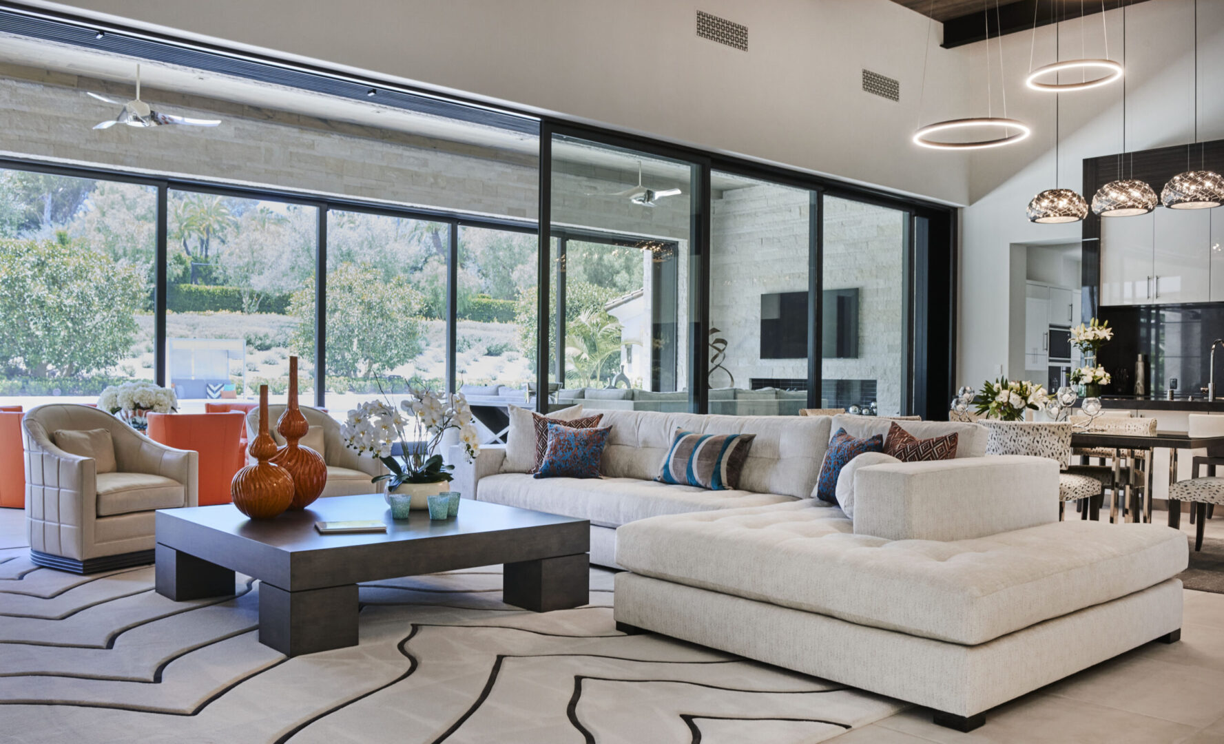 Living room with white furnishings