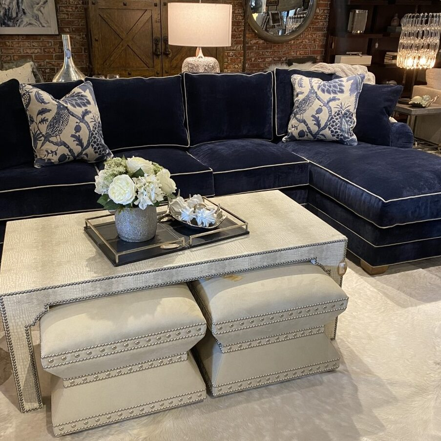 "Century Navy Sectional <br> Retail: $10,142 <br> Our Price: $7,986 <br> Dimensions: 125""W x 36""H x 67""D"
